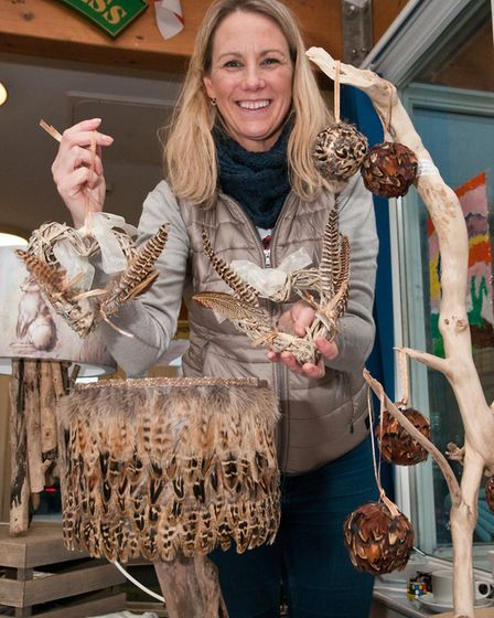 Kate Foster and her feather craft at Hutton School Christmas Fete. Picture: MARK ATHERTON