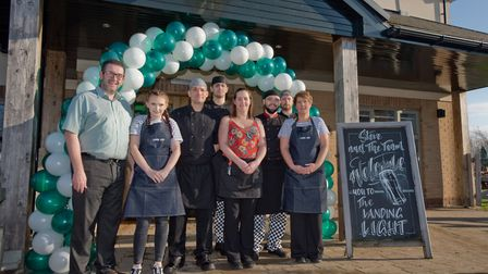 Stephen Metcalf and staff of the Landing Light pub after its refurbishment. Picture: MARK ATHERTO