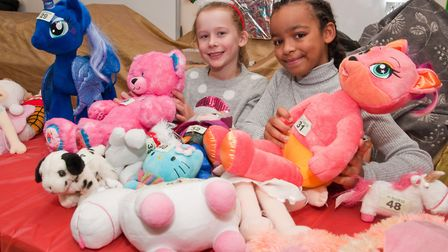 Ella and Tooni running the Teddy Tombola at St Francis School Christmas fair. Picture: MARK ATHER