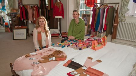 Debbie Downs with her Ecologie and Cadenza range of Italian clothing with Sophie Williams from Mothe