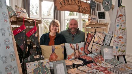 Annabel Rose Textiles , Annabel Criddle and dad Roy at Barley Wood Christmas Fair, Wrington. Pict