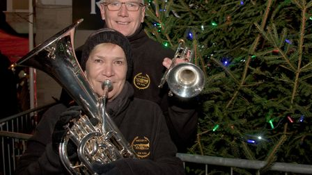 Bev and Rob from Weston Brass at Congresbury Broad Street Christmas Fair. Picture: MARK ATHER