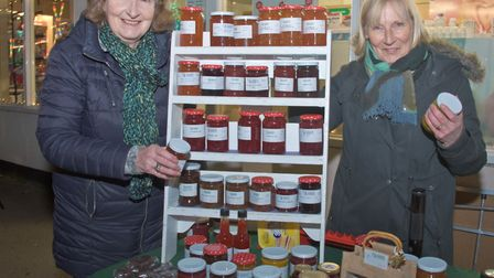 Sue and Jeanette from Country Markets at Congresbury Broad Street Christmas Fair. Picture: MA