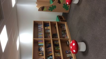 School books placed at the new library at a Congresbury school