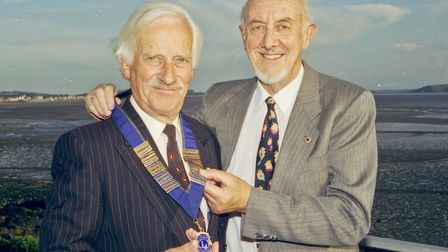 Weston Lions Club President Change Over, out going President Ray Edbrooke hands over to Bryan Fowler