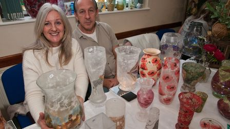 Kim and Adrian Cumner with their Decoupage designs at Uphill Christmas Bazaar. Picture: MARK ATHE