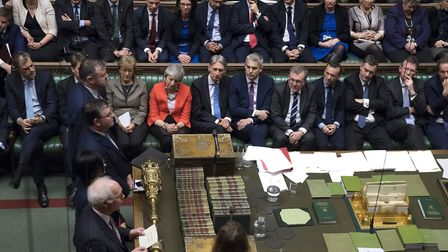 MPs voting on the Meaningful Vote motion in the House of Commons. Photograph: UK Parliament/Jessica