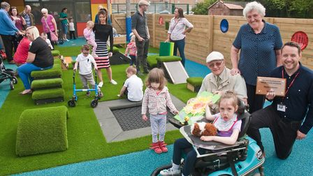 Baytree School's new playground donated by Weston Sunbeams. Headteacher Ed Bowen-Roberts and pupils