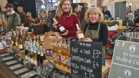 Kathryn and Gill from Fenny Castle Vineyard at eat:Christmas festival. Picture: MARK ATHERTON