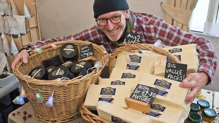 Simon Ayres with cheeses from Lye Cross Farm at eat:Christmas festival. Picture: MARK ATHERTON