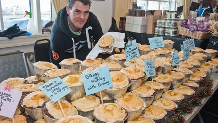Scott Rayner the Pie Man at eat:Christmas festival. Picture: MARK ATHERTON