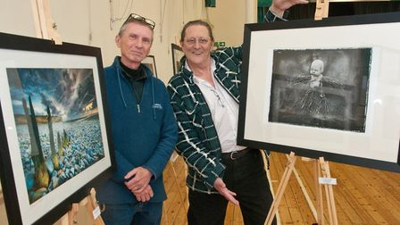 Organisers Nick Pound and Dave Tabrett with their art work.Picture: MARK ATHERTON