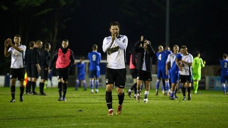 Scott Laird shows his apprecation to the supporters who travelled to Swindon Supermarine. (Picture: