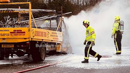 Crews from burnham raced to put out a fire on the M5 this afternoon. Picture: Burnham-on-Sea Fire St