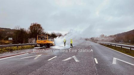 crews from Burnham raced to extinguish a van which had caught light on the M5. Picture: Burnham-on