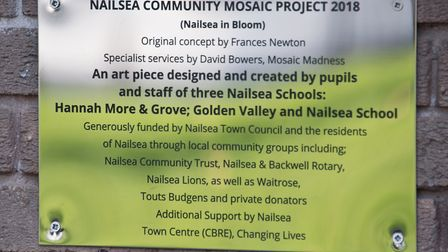 Nailsea Community Mosaic Project on the side of New Look. Plaque installed under mosaic. Picture: