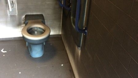 Damage to the Clarence Park public toilets. Picture: Becky Walsh