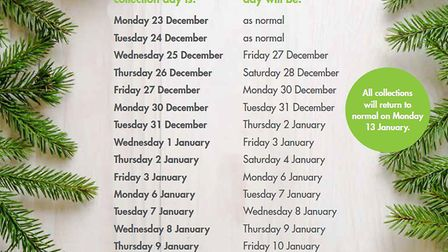 Recyling dates. Picture: North Somerset Council