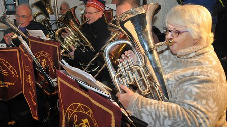Congresbury Brass plays Xmas carols at Wrington Dickensian fair.Picture: Jeremy Long