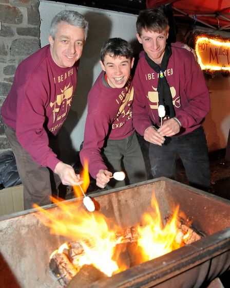Yeo Explorers toasting marshmallows at Wrington Dickensian fair.Picture: Jeremy Long
