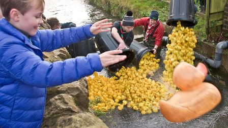 Banwell Scout Group Boxing Day Duck Race. 8-year-old cub scout Harrison had the honour of launching