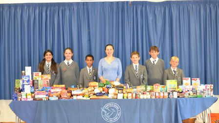 Fairfiled School students donated food to Charlton Farm children's hospice. Picture: Kate Green