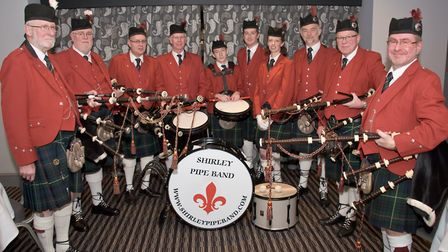The Shirley Pipe Band, piped in the guests and later piped in the haggis.