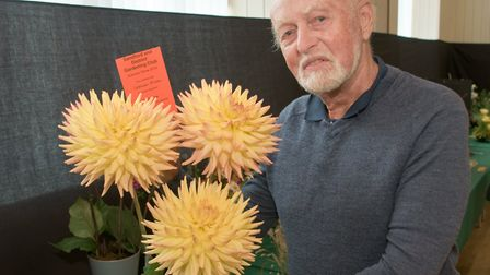 Graham Mizen with his prize winning Dahlias at Sandford and District Gardening Clubs summer showPict