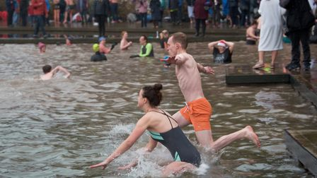 Brave swimmers taking the plunge at Clevedon Marine Lake New Year's Swim. Picture: MARK ATHERT