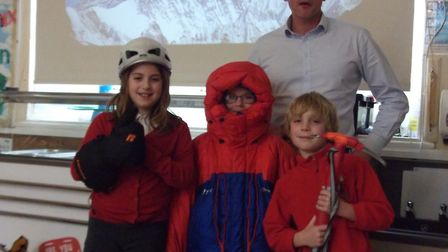 Explorer Nick Hollis spoke with pupils of Wraxall Primary School. Picture: Amy Townsend