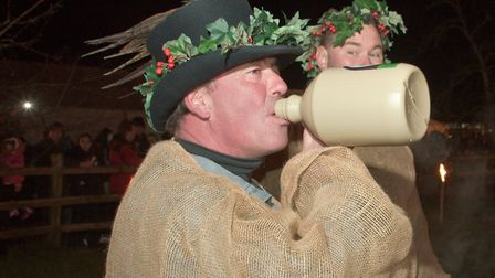 Enjoying the Wassail at Riches Cider Farm. Picture: MARK ATHERTON