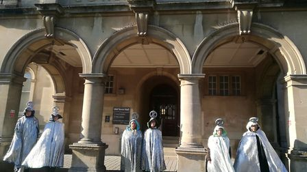 A group of Extinction Rebellion elders clad in ceremonial robes travelled tothe town hall to deliver