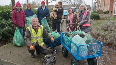 Volunteer litter pickers at work around the Campus at Locking Castle. Picture: MARK ATHERTON