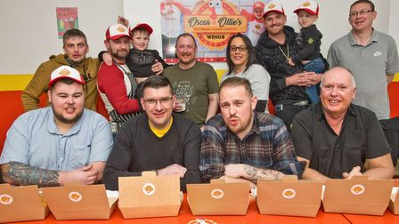 Competitors line up for the Hot Wings Challenge at Oscar and Ollie's in Oxford Street. Picture: M