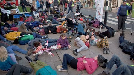 Extinction Rebellion protestors mass die-in outside Weston town hall. Picture: MARK ATHERTON