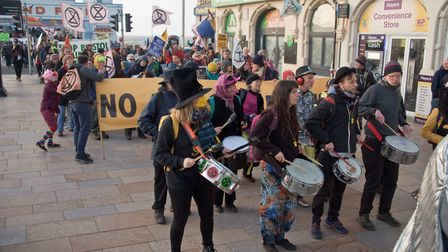Extinction Rebellion Bristol airport demonstration and march from Weston Grand Pier to the town hall