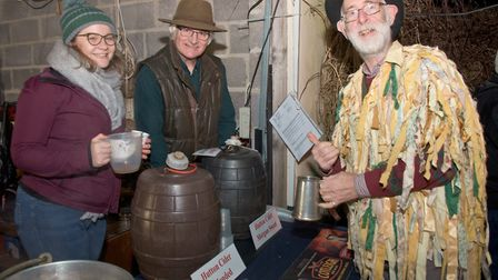 Serving up cider at Hutton Wassail. Picture: MARK ATHERTON