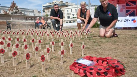 Italian Gardens, a cross planted by Weston's Royal British Legion for every veteran, from Weston and