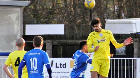 Clevedon's Glen Hayer goes up for a header at Hallen (pic pitchero.com/clubs/clevedontown)