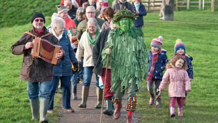 Congresbury Wassailers making their way to the Community Orchard. Picture: MARK ATHERTON