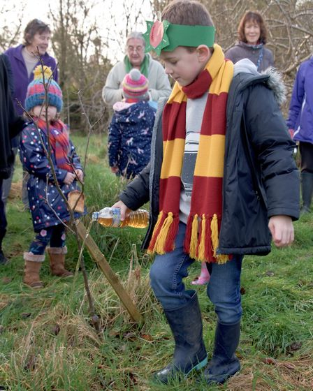 Blessing the new apple trees at the Community Orchard during Conresbury Wassail. Picture: MARK