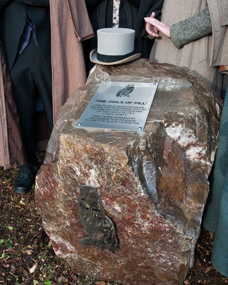 Plaque marking their 100th anniversary unveiled by the Owls of Pill. Picture: MARK ATHERTON