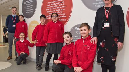 Headteacher Sharon Roberts with upper KS2 head Tim Eutace and Y6 pupils. Picture: MARK ATHERTON