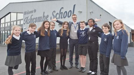 John Clark headteacher pictured with Year6 pupils. Picture: MARK ATHERTON