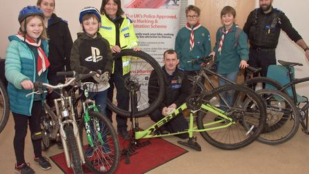 Bicycle security marking at Banwell Children's Centre community event. Picture: MARK ATHERTON