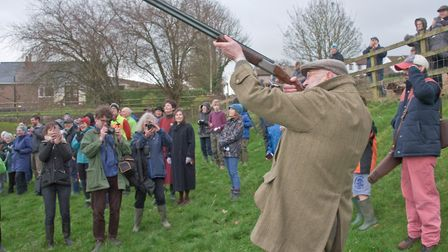 Rifleman Alan Barwick at Blagdon Wassail in the Community Orchard. Picture: MARK ATHERTON