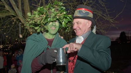 Green Man Steve Cayzer and Butler Ron Febrey at Transition Nailsea's Wassail. Picture: MARK ATHE