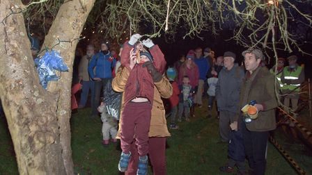 Put toast in the trees at Nailsea Transition Wassail. Picture: MARK ATHERTON