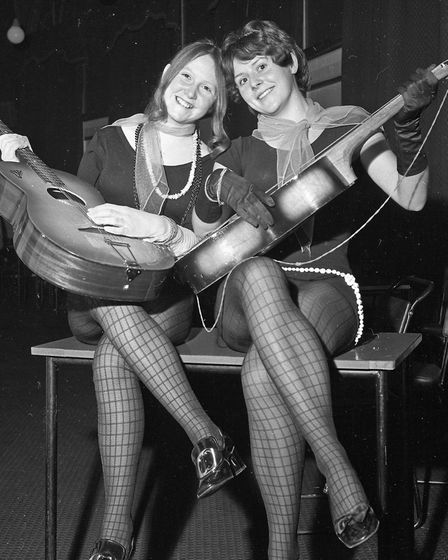 Costumed dancers at Weston's 1970 Arts Ball. Two Modern Misses - Jackie Hall and Frances Holley.