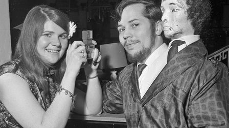 """Costumed dancers at Weston's 1970 Arts Ball. Ann Morrisey and her husband Michael who's idea was """"Tw"""